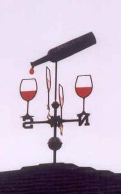 Wine bottle and glasses weathervane