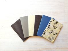 Notebooks: 6 Tiny Journals Set, Blue, Grey, Floral, Party Favors, Wedding, For Her, Journals, Jotters, Mini Journals, Small - Set of 6
