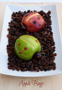 Apple Bugs - Fun food for kids from Eats Amazing UK - with full instructions and video tutorial - great allergy friendly snack, free from dairy, gluten, nuts etc Bug Snacks, Fruit Snacks, Lunch Snacks, Toddler Meals, Kids Meals, Toddler Food, Cute Food, Good Food, Kreative Snacks