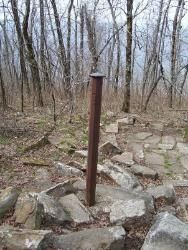 An iron post marks what once was the boundary line between the United States and the Choctaw Nation, in northwest angle of the Choctaw, Oklahoma.