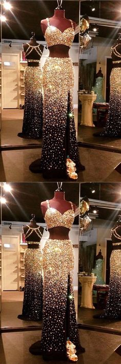 luxurious prom dresses, two pieces dress, gold sequined dress, sheath prom dress