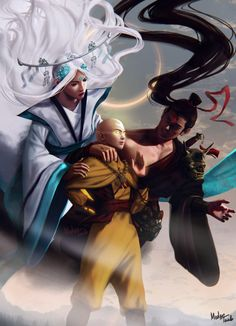 My take on Aang, Raava and Vaatu from Avatar: The Last Airbender and The Legend of Korra. Avatar Aang, Avatar Airbender, Avatar Legend Of Aang, Team Avatar, Legend Of Korra, Blade Runner, Avatar Fan Art, Character Art, Character Design