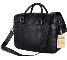 """Berchirly Men's Vintage Genuine Leather Briefcase Messenger Shoulder Bag, Fit 15"""" Laptop"""
