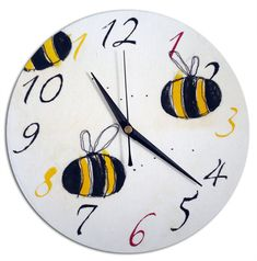Bumble Bee Clock / Children's / Boys / Girls Wall Clock / Nursery Decor