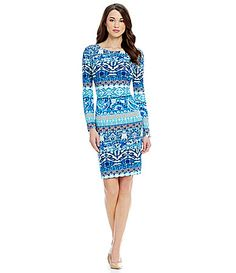 Antonio Melani Casserina Printed Crepe Long Sleeve Sheath Dress #Dillards