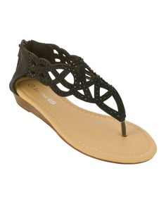 Look at this Eddie Marc Kids Black Cutout Wedge Sandal on #zulily today!