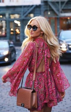 A Floral Chiffon Playsuit with Beautiful Floral Design Patterns. Must-have item to add to a Wardrobe Collection. Casual Women Outfit Idea featuring Boho Chic Fashion Style Inspiration and Outfit Ideas to Try Now. Shop this look ! Fashion Mode, Moda Fashion, Ladies Fashion, Street Fashion, Fashion Gal, Fashion Bella, 2000s Fashion, Jeans Fashion, Fashion Outfits