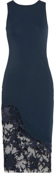 Haney - Natasha Stretch-jersey And Appliquéd Point D'esprit Dress - Navy