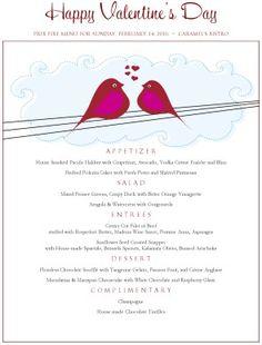 love birds valentines menu - Valentine Menu Ideas