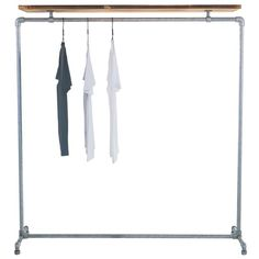 The Wood Roll clothes rail is made from galvanised steel pipe and pine wood.