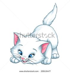 Vector kitten playing cartoon cute happy white cat smiling character cat illustration isolated on white background