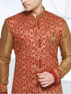 Red Color Mens Indo Western