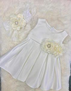 Vintage Baby Dress Baby Girl Dress white satin baby dress