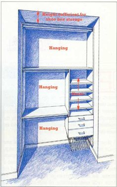 Small closet redesign idea. Extend and use entire floor-to-ceiling space.