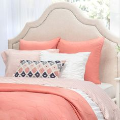 Crane & Canopy's Coral Scalloped quilt and sham set brings beautiful style and amazing comfort to your home. This quilt looks luxurious and feels oh-so-soft. Comforter Sets, Yellow Bedding, Bedding Decor, Coral Bedroom Decor, Peach Bedroom, Goose Down Pillows, Bed Sets, Bedroom Ideas, Bedroom Decor