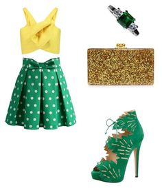"""Summery , polka-dot skirt and yellow top "" by ladydaisy ❤ liked on Polyvore featuring Chicwish, Edie Parker, Charlotte Olympia, Jupp Fine Jewellery and Delpozo"