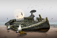 Surreal Seascape with Wooden Shipwreck Gulls Message in a