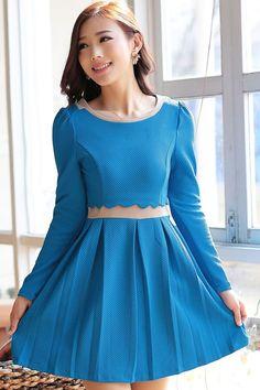 Pleated Long Sleeve A-line Dress