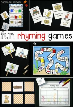 Fun rhyming games for kids! Great ideas for guided reading activities and literacy centers. Perfect for preschool or kindergarten.
