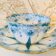 """25 Likes, 1 Comments - Bonny and Blithe (@bonnyandblithe) on Instagram: """"Wileman Foley Star ⭐️ pattern Fairy ♀️ Shape tea cup and saucer c1891-95. Just listed on eBay…"""""""