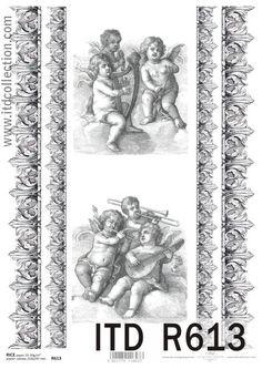 Papier ryżowy decoupage R613 - Papier decoupage z Amorkami, ornamenty