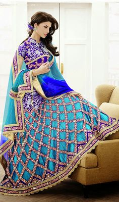 Sky Blue Shade Satin Jacquard Lehenga Sari Price: Usa Dollar $444, British UK Pound £261, Euro326, Canada CA$475 , Indian Rs23976.