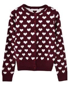 Hearts Printed Round Collar Cardigan