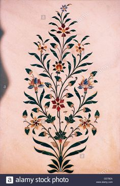 SMK 82253 : indian handicrafts marble inlay work with precious stones jaipur rajasthan india Stock Photo