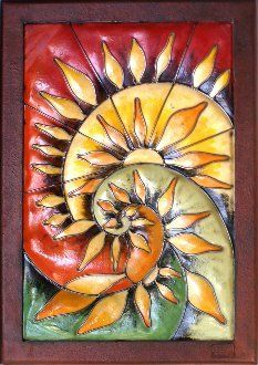 Colorful Spiral Sun Metal Wall Frame by iUniqueArt. $1338.00. Hand-Cut with Plasma Torch. Hand-Crafted in Guadalajara, Mexico. Hand-Painted and Finished with Outdoor Quality Paints. Strong 22-Gauge Sheet Metal Construction. Transluscent Resin Fiber Glass. This frame features our new fiberglass blend that provides a stained glass look while providing added durabilty and workability.  An abstract reprepsentation of a sunset separating into a nautilus spiral. An extrao...