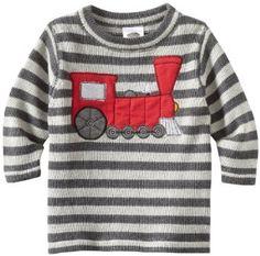 Mulberribush Baby-boys Infant Train Applique Striped Sweater, Grey, 12 Months Mulberribush. $33.60