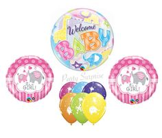 Baby Shower Balloons Jungle Elephants Bubble Balloon Mylar Latex Select Your Pkg Made in USA Baby Animal Balloons Baby Girl Shower Its A Boy Balloons, Pastel Balloons, Bubble Balloons, Confetti Balloons, Baby Shower Balloons, Balloon Garland, Bubbles, Balloon Animals, Animal Balloons