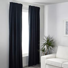 SANELA Room darkening curtains, 1 pair, dark blue, Room darkening curtains prevent most light from entering and provide privacy both day and night by blocking the view into the room from outside. Room Darkening, Navy Blue Curtains, Curtains, Room Darkening Curtains, Blue Curtains Living Room, Dark Blue Curtains, Dark Curtains, Black Curtains Bedroom, Dark Blue Rooms
