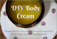 Earl grey tea invigorates this antioxidant DIY body cream, and bergamot essential oil adds great citrus notes to make it aromatic and uplifting. Enjoy!