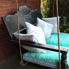 I always love it when I visit someone and they have a porch swing. A swing is one of the most wonderful things you can put on a porch. Rocking chairs are Repurposed Furniture, Diy Furniture, Outdoor Furniture, Outdoor Decor, Outdoor Living, Painted Furniture, Outdoor Ideas, Reclaimed Furniture, Outdoor Fun