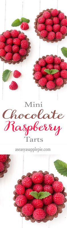 These mini chocolate raspberry tarts are perfect for Valentine's Day! Rich, decadent and very easy to make