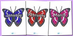 Months of the Year on Butterflies - Butterfly, Weeks poster, Months display, display, poster, frieze, Days of the week