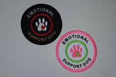 """Round Emotional Support Dog - Embroidered Sew On Patch 3"""""""