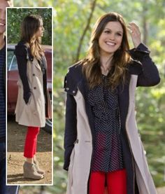 Zoe's contrast coat, red pants, ankle boot wedges and polka dot blouse on Hart of Dixie.  Outfit Details: https://wornontv.net/3142/ #HartofDixie