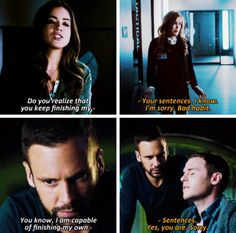 It's sad because in the first season they're so used to finishing each other's sentences, but when they grow apart they keep the habit... #fitzsimmons for life