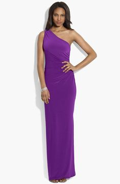 Lauren Ralph Lauren Embellished One Shoulder Matte Jersey Gown available at #Nordstrom