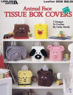 Leisure Arts Leaflet 902 - Animal Face Tissue Box Covers    7 Designs to Crochet    1. Dog  2. Cat  3. Chick  4. Lamb  5. Elephant  6. Pig  7. Bear    This leaflet is in very good condition.