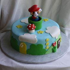 Super Mario Bros Cake This cake was for my son Noah's birthday. I made a Super Mario Bros. Cake based on the game. The actual. Super Mario Party, Super Mario Bros, Cupcakes Super Mario, Mario Birthday Cake, Super Mario Birthday, Themed Birthday Cakes, Bolo Do Mario, Bolo Super Mario, Mario Kart Cake