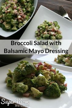 Broccoli Salad with Balsamic Mayo Dressing - perfect to serve on its own for brunch or as a side. Not your typical Broccoli Salad! For this salad, I've replaced the raisins with chopped apple, substituted ham for the grated cheese and used balsamic vinega Salad With Balsamic Dressing, Salad Dressing Recipes, Best Salad Recipes, Healthy Recipes, Delicious Recipes, Drink Recipes, Easy Recipes, Cooking Recipes, Side Dishes Easy