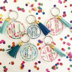 Lilly Pulitzer 2 Monogram Keychain with Leather by SealedWithAPaw