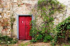 Red Door in Old Brick and Stone Cottage