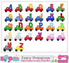 Truck Monogram  AZTruck Letter AZ by FancyMonogram on Etsy