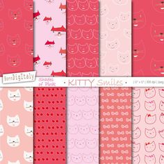 Cute Cats Printable Paper Set      #digital #download #pattern #cats #kitties #kitten #paper #background #cute #printable #lovecats #wrapping #wrap #seamless #backdrop #digiscrap #scrapbook #gift #scrapbooking #red #pink