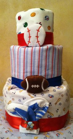 Sports Diaper Cake Sports Baby Shower Baby by TeensyTinyBabyGifts, $44.00