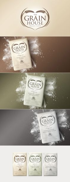 The Grain House Flour designed by Design Happy, a strategic packaging & branding design agency based in Kingston Upon Thames, UK. http://www.designhappy.co.uk