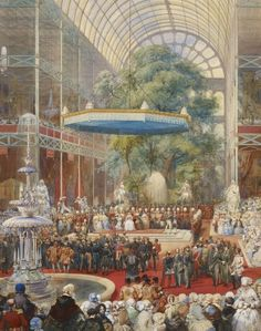 The opening of the Great Exhibition 1851. London, Watercolour by Lami.  The opening  of the Works of Industry of All Nations .On a raised dais in the central crossing of the Crystal Palace, built in Hyde Park and enclosing several of the park's mature trees, the Queen received the report of the Commissioners, led by Prince Albert. The Queen described the day as 'one of the greatest and most glorious days of our lives'.